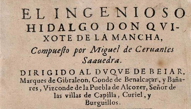 Portada del célebre libro de Miguel de Cervantes.