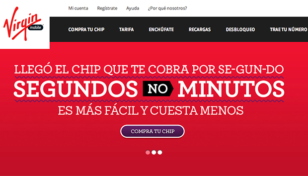 Publicidad de la empresa telefónica Virgin Mobile.