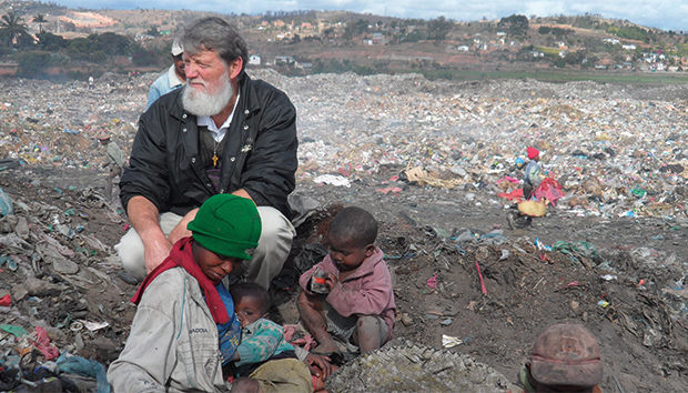 Pedro Opeka in the Antananarivo trash dump. Photos: Madagascar Foundation