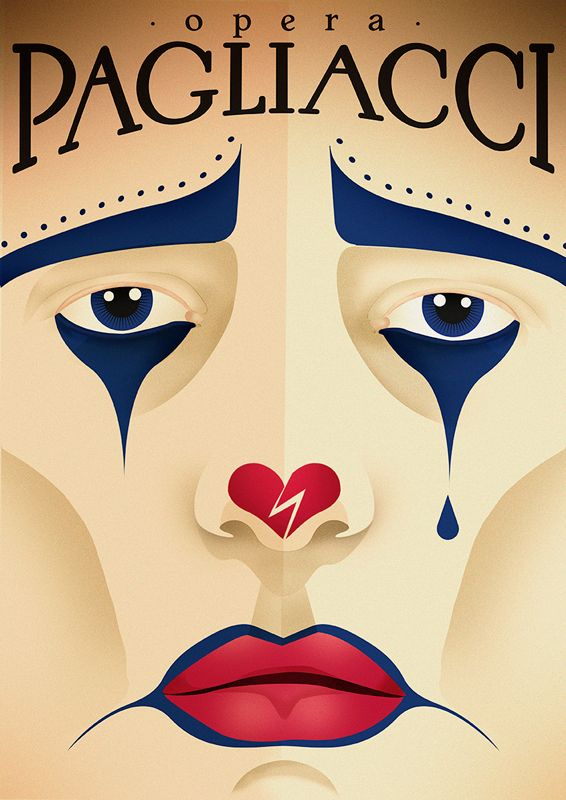Cartel de la ópera Pagliacci. Imagen tomada de pinterest.com.mx